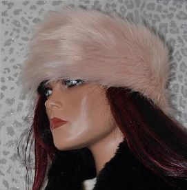 Baby Pink Long Haired Luxury Fur Headband